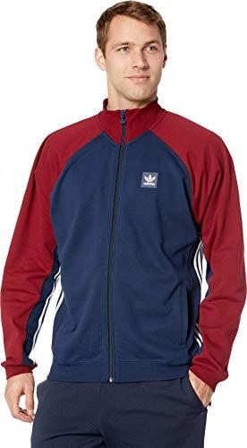 Collegiate Rugby Shirt Stripe - adidas Skateboarding Men's Full Zip Rugby Collegiate Navy/Collegiate Burgundy/White XX-Large