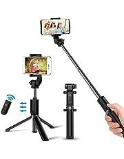 Bovon Perche Selfie Bluetooth, Selfie Stick Trépied Monopode avec Télécommande Rechargeable, Bâton Réglable Télescopique avec Support Téléphone pour Smartphones