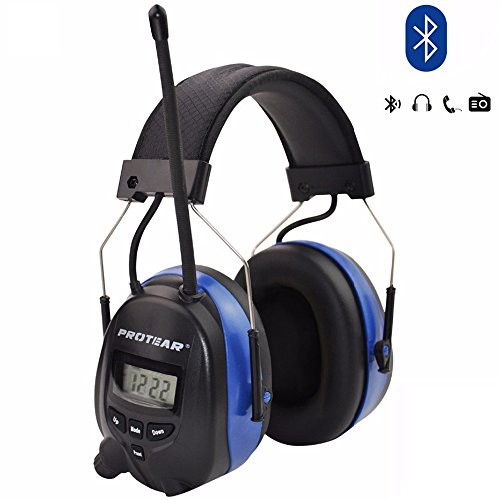 8. Protear Rechargeable Lithium Battery Bluetooth & AM/FM Radio Safety Earmuffs