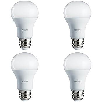 Philips LED Bulb 4 Pack 60 Watt Equivalent, Daylight (5000K) A19 Non Dimmable, Medium Screw Base