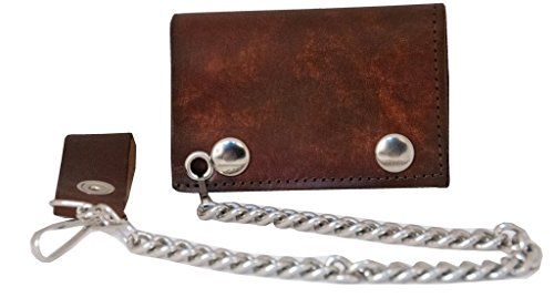 Trifold Genuine Leather Wallet W/Chain,Made In USA,Antique Finish brown,AT304