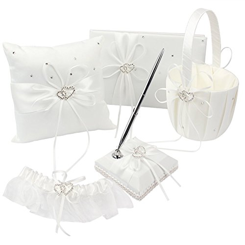 KANECH 5pcs Sets-Ivory Satin-Wedding Flower Girl Basket and Ring Bearer Pillow Set (Ring Pillow + Flower Girl Basket + Wedding Guest Book +Pen Set + Garter Cover) by KANECH