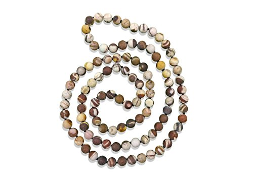 MGR MY GEMS ROCK! 36 Inch 8MM Matte Finish Semi-Precious Genuine Brown Zebra Jasper Long Endless Infinity Beaded Strand Necklace.