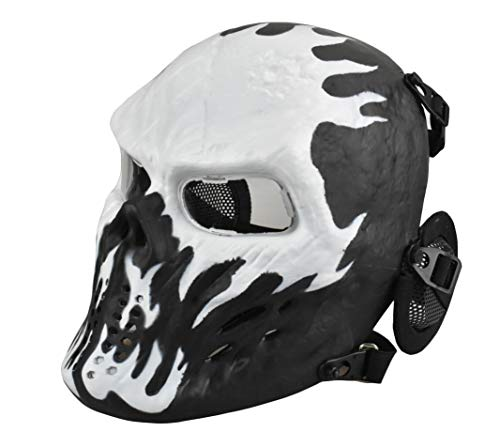 JFFCESTORE Tactical Airsoft Mask, Full Face pc Clear Lens Paintball Mask Anti Fog with Metal Mesh Ear Protection for BB Gun/CS Game/Cosplay/Halloween/Scary Skeleton Zombie (White/Black)]()