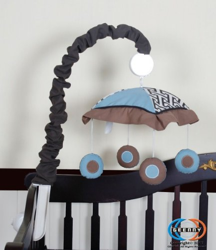 GEENNY Musical Mobile, Boutique Blue/Brown Scribble