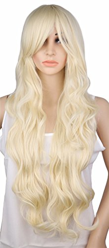 Long Curly Blonde Wig Cosplay Costume Party Women 70 Cm High Temperature Synthetic Hair Wigs 28inches ()
