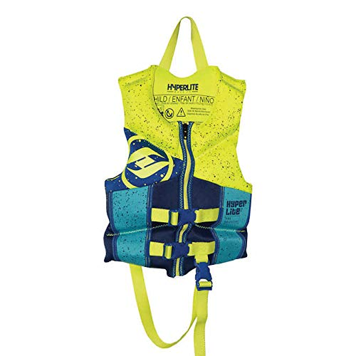 (Hyperlite Child/Infant Life Vest, USCG Approved Level 70 Buoyancy Device 33-55 lbs (Neon Yellow/Blue))