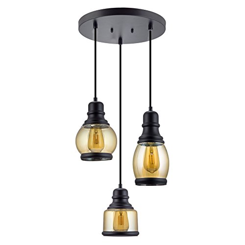 Hudson 3-Light Multi-pendant chandelier+Jar Glass+Adjustable Pendant+Matte Black (Multi Pendant Light Fixture)