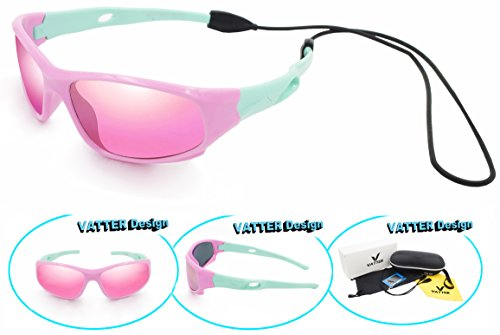Price comparison product image VATTER TR90 Unbreakable Polarized Sport Sunglasses For Kids Boys Girls Youth 816pinkgreen