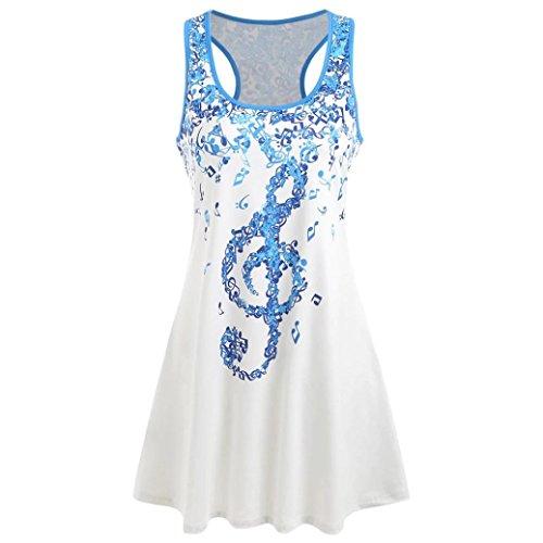 Musical Baseball (Women Ladies Musical Note O Neck T-Shirt Sleeveless Casual Tops Blouse Vest Tank (White, XXL))