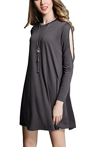 DICOOL Women's Casual Shoulder Off Long Sleeve Cotton Simple Tshirt Dresses Basic Shift Dress
