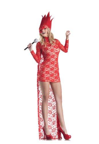 [Red Lace Pop Star Medium Fancy Dress] (Pop Star Fancy Dress)