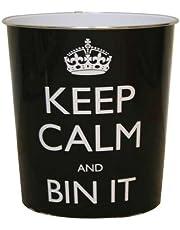 JVL Keep Calm and Bin It Waste Paper Bin, Plastic, Black, 25 x 26.5 cm