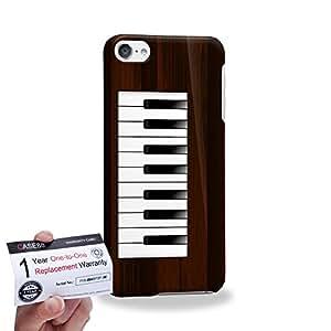 Case88 [Apple iPod Touch 6] 3D impresa Carcasa/Funda dura para & Tarjeta de garantía - Art Drawing Grey Piano