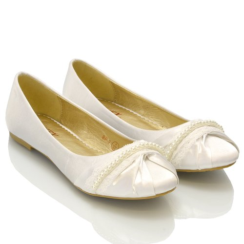 Womens Bridal Shoes Pearl Lace Satin Ladies Flat Ballet Bridesmaid Satin Slip On Pumps Size 3 4 5 6 7 8 9 White Satin l2agzh