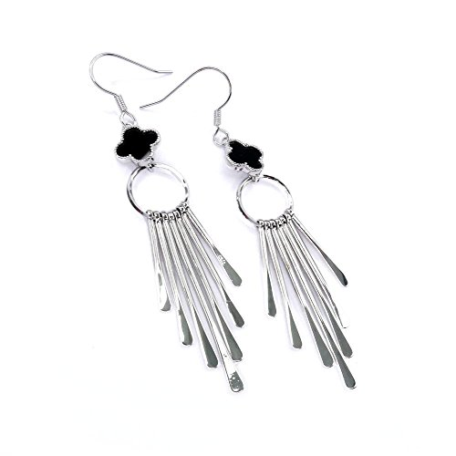 Dangling Circle Alhambra Earrings, Minimalist Earrings, Black Alhambra Earrings, Birthday Gift, Night Out Earrings BE359-2 (Silver)