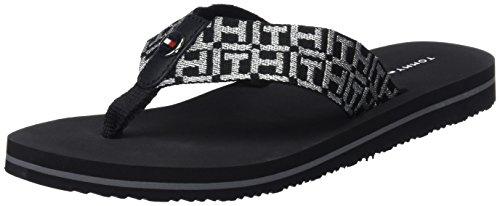 Flops Black Tommy Sandal Beach Hilfiger Women''s Flip Low 990 Metallic black FqC7Bpcqw