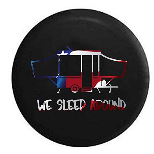 Flag - We Sleep Around PopUp RV Camper Spare Tire Cover OEM Vinyl Black 29 -
