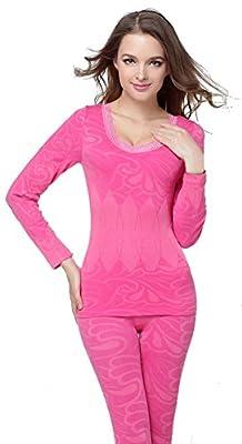 Bellady Women's Lace Warm Seamless Top & Bottom Thermal Underwear Set