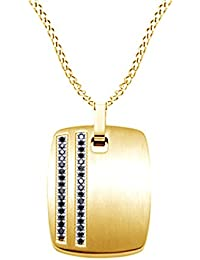 Black Natural Diamond Dog Tag Men's Pendant Necklace in 14k Gold Over Sterling Silver (0.25 Ct)