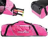 Athletico Rolling Baseball Bag - Wheeled Baseball Bat Bag for Baseball, TBall, Softball