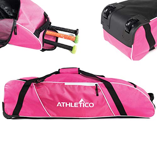 Athletico Rolling Baseball Bag - Wheeled Baseball Bat Bag for Baseball, TBall, Softball Equipment for Youth, Kids, and Adults (Pink)