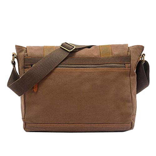 Color Marrón Simple Canvas Retro Bag Color Coffee De Bolsa Honneury Hombro Messenger Zip Maletín Oq6wWPd