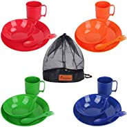 Bisgear Camping Mess Kit - 4 Person Lightweight Dinnerware Family Set with Plates Bowls Cups Mugs Sporks Carab