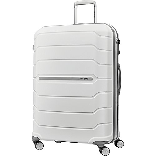 Samsonite Freeform Hardside Expandable with Double Spinner Wheels, White, Checked-Large 28-Inch