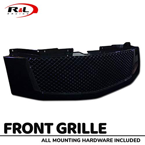 R&L Racing Black Front Grill Luxury Mesh Hood Bumper Grille Guard ABS 2007-2014 for Cadillac ()