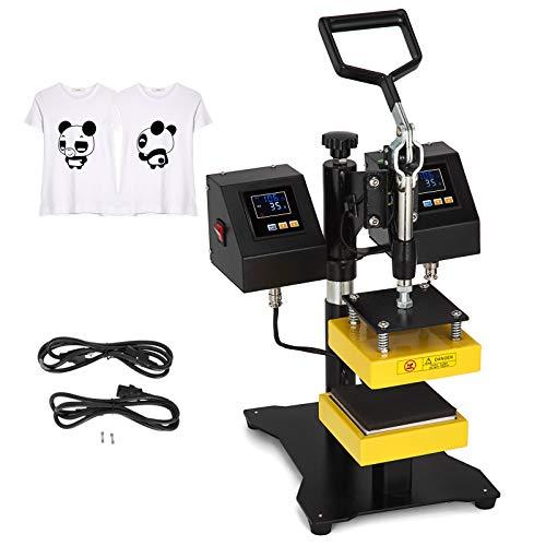 VEVOR 5X5 Inch Heat Press Dual Element Heat Press Machine High Pressure Heating Plates with Double Control Box