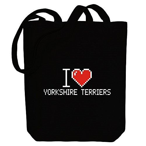 Canvas love I Idakoos Tote Bag Terriers Yorkshire pixelated Dogs vpzzWc