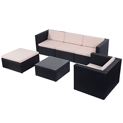 Tangkula 6 PCS Outdoor Patio Rattan Wicker Sectional Furn...
