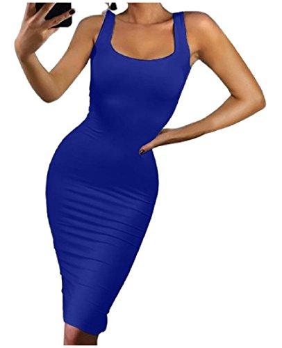 Coolred-femmes Sexy Couleur Pure Maigre Boîte De Nuit Sans Manches Silm Veste Robe Saphir Bleu