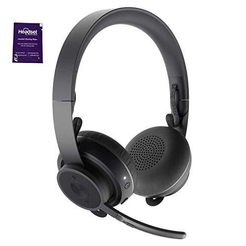 Logitech Wireless Telephone - Logitech Zone Wireless Bluetooth Headset Bundle with Headset Advisor Wipe