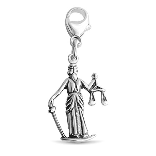 Azaggi Sterling Silver Handcrafted Tiny Lady Justice Temida Pendant With Lobster Claw Clasp P0009S_pc