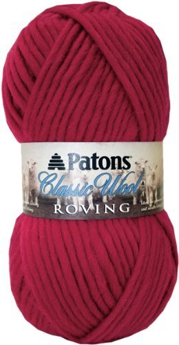 (Ship From USA) Patons Classic Wool Roving Yarn, Cherry / Great for knit and crochet apparel and accessories. 100 percent merino wool. Perfect for home decor and garments. Needle size 7 or hook size ()