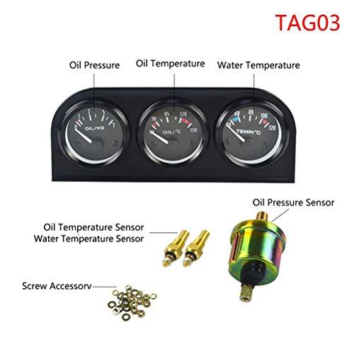 52Mm 3 in 1 Volt Meter Water Temp Gauge Oil Pressure Gauge Kit Volt Meter or Oil Temperature Gauge Triple Mete,TAG03:
