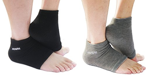 AYAOQIANG Moisturizing Open Toe Silicone Gel Heel Socks,Spa Socks for Dry Hard Cracked Skin -2 Pair(Black and Grey)