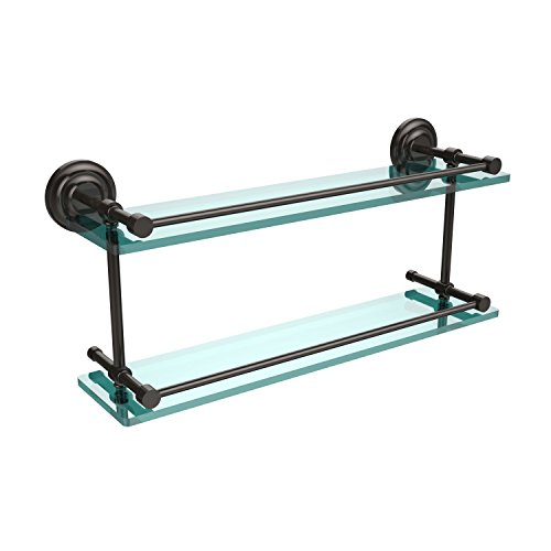 Allied Brass QN-2/22-GAL-ORB Que New 22-Inch Double Glass Shelf with Gallery Rail, Oil Rubbed Bronze