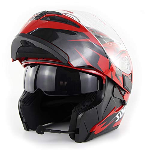 (Bluetooth Helmet Communication System, Flip Double-Sided Awning Motorcycle Full Face Helmet DOT Certification Bluetooth Modular Helmet Motorcycle / Cross Country / Snow Motorcycle / ATV, 6 Colors,Red,)