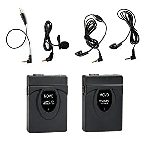 Movo WMIC50 2.4GHz Wireless Lavalier Microphone System with Integrated 164-foot Range Antenna (Includes Transmitter with Belt Clip, Receiver with Camera Shoe, Lavalier and 2 Earphones)