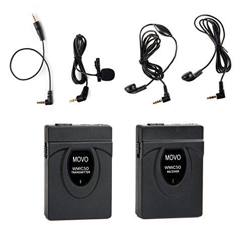 (Movo WMIC50 2.4GHz Wireless Lavalier Microphone System with Integrated 164-foot Range Antenna (Includes Transmitter with Belt Clip, Receiver with Camera Shoe, Lavalier and 2 Earphones))