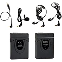 Movo 2.4GHz Wireless Lavalier Microphone System (164 Range) for Canon EOS 1D-X MK I&II, 5D MK I, II, III, 5DS R, 6D, 7D MK I+II, 60D, 70D, 80D, Digital Rebel T6S, T6i, T5i, T4i, T3i, T2i DSLR Cameras