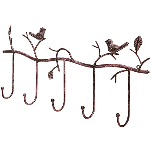 Branch Sweet (Decorative Rustic Tree Branch & Birds Wall Mounted Metal 5 Coat Hook Clothing/Towel Hanger Storage Rack)