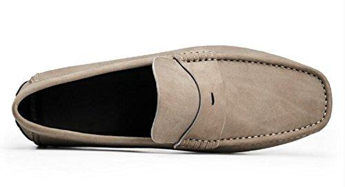Happyshop Vrijetijdssalon Heren Suede Lederen Schoenen Eenvoudige Mocassin Comfort Instapper Schoenen Loafers Grijs