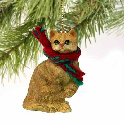 Tiny One Collectible Cat Ornament - Tabby Cat Tiny Miniature One Christmas Ornament Red Shorthaired - DELIGHTFUL! by Conversation Concepts