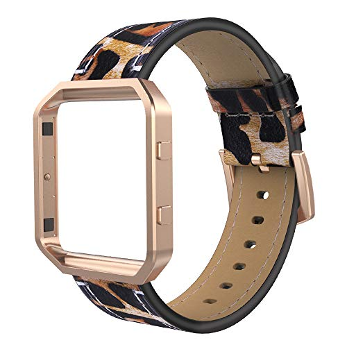 Leather Polished Frame - Simpeak Compatible for Fitbit Blaze Bands with Frame, Small, Multi Color, Genuine Leather Band for Fit bit Blaze Smartwatch Women Men, Leapard Band + Rose Gold Metal Frame