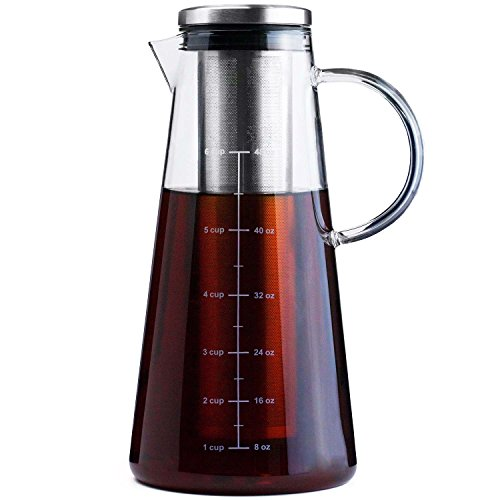 COLD BREW COFFEE MAKER - LARGE 1.5 Quart | 48 oz - Glass Pitcher & Carafe Pot with Removable Stainless Steel Filter - Perfect for Cold Brew, Iced Coffee, and Iced Tea Infusion