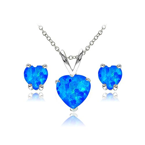 Sterling Silver Simulated Blue Opal Heart Solitaire Necklace and Stud Earrings Set